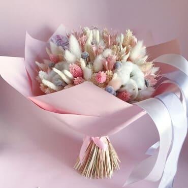Букет из сухоцветов «розовый шифон»