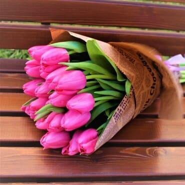 25 малиновых тюльпанов