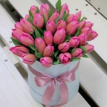 51 малиновый тюльпан в шляпной коробке
